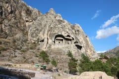 Le tombe della roccia del Pontic di Amasya in Turchia Immagine Stock Libera da Diritti