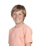 Le tonåringen med en lycklig gest Arkivbild