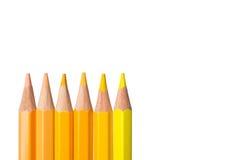 Le ton jaune de couleur crayonne sur le fond blanc Photo libre de droits