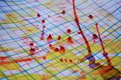 Le tonalità della pittura dell'acquerello, penna allinea, la cera rossa, fondo astratto Fotografia Stock Libera da Diritti