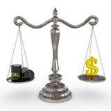Le tonneau à huile et le dollar chantent sur des échelles. Photos libres de droits