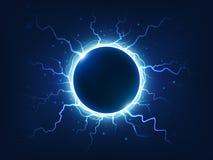 Le tonnerre spectaculaire et la foudre entourent la boule électrique bleue Foudres électriques entourées par sphère d'énergie de  illustration de vecteur
