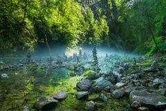 Le torri di pietra nella gola di Vintgar e nel fiume di Radovna vicino hanno sanguinato in Slovenia Immagine Stock