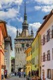 Le torri di Sighisoara, Romania Immagini Stock