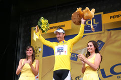 Le Tour de France 2009 - Round 4. Team Saxo Bank's Fabian Cancellara, yellow shirt and leader of general rank of the Tour de France 2009, during the 4th round Le Stock Photo