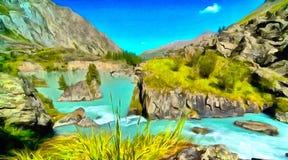 Le tour de la rivière de montagne dans le canyon illustration libre de droits