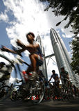Le Tour de Langkawi. Against the Petronas Twin Towers, 2007 stock photography