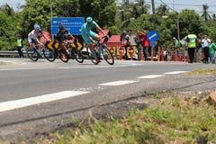 Le Tour De Langkawi 2016. MELAKA - MARCH 1 : Cyclist from Astana Pro Team leading peloton at Melaka Loop during stage 7 Le Tour de Langkawi 2016 from Seremban to Royalty Free Stock Image
