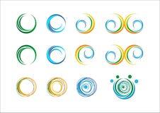 Le tourbillon du soleil d'abrégé sur flamme d'ailes de feuilles de sphère d'usine de ressort de logo de l'eau de vague de cercle  Images libres de droits