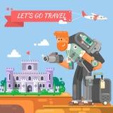 Le touriste avec une valise et un appareil-photo va au caractère de photographe de château avec l'appareil-photo prenant des phot Photos stock