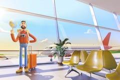 Le touriste de personnage de dessin animé maintient le monde entier sur la paume dans l'aéroport illustration 3D Concept de voyag illustration de vecteur