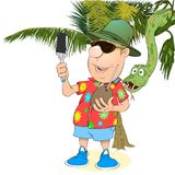 Le touriste est photographié dans la perspective de la jungle Images stock