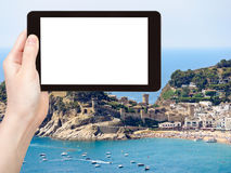 Le touriste photographie la ville urbaine Tossa de Mar de plage Image stock