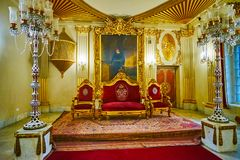 Le trône dans le palais de Manial, le Caire, Egypte image libre de droits