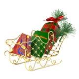 Le traîneau de Santa avec des cadeaux Image stock