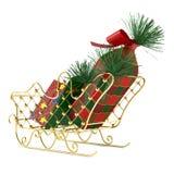 Le traîneau de Santa avec des cadeaux Photographie stock libre de droits