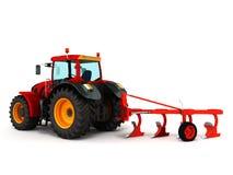Le tracteur labourant 3d rouge rendent sur le fond blanc Images libres de droits