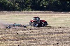 Le tracteur laboure la terre Image stock