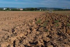 Le tracteur tire la charrue et le champ labouré un jour ensoleillé d'été avec un beau ciel bleu à l'arrière-plan image stock