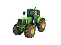 Le tracteur vert 3d ne rendent sur le fond blanc aucune ombre Photo libre de droits