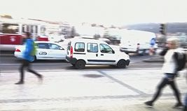 Le trafic à Prague Photographie stock