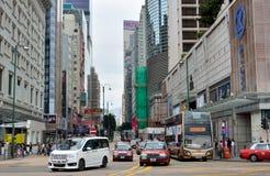 Le trafic au centre de message publicitaire de Hong Kong Images libres de droits