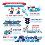 Le trafic dans la ville, personnages de dessin animé infographic Photographie stock libre de droits