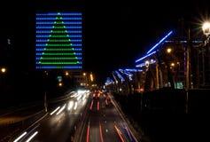 Le trafic de Bruxelles et festival de lumières Images libres de droits