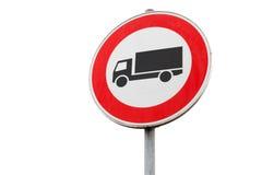 Le trafic de transport de fret est interdit, panneau routier image libre de droits