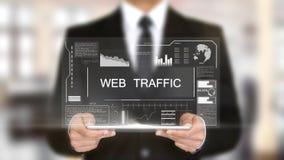 Le trafic de Web, concept futuriste d'interface d'hologramme, réalité virtuelle augmentée Image stock