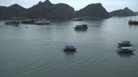 Le trafic des bateaux et les bateaux dans Halong aboient clips vidéos
