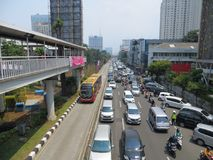Le trafic encombré à Jakarta photos stock