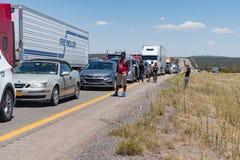 Le trafic massif empilent sur 40 d'un état à un autre Nouveau Mexique Photo stock
