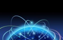 Le trafic sur Internet au-dessus du monde de carte Images libres de droits