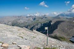 Le trailway sur le sommet du mont Olympe Images libres de droits
