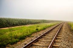 Le train dépiste le début de la matinée Photographie stock