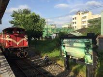 Le train dans shifen, Taïwan images stock