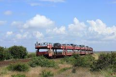 Le train de navette de véhicule quitte l'île de Sylt Image libre de droits
