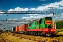 Le train diesel avec le chariot Photographie stock libre de droits