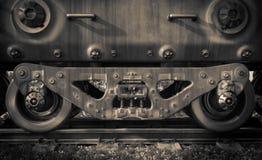 Le train industriel de rail roule la technologie de plan rapproché image stock