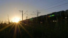 Le train se déplace par la belle lumière du soleil banque de vidéos