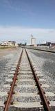 Le train suit le point de vue Photographie stock libre de droits
