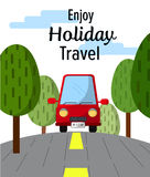 Le trajet en voiture rouge apprécient des vacances avec l'illustration des textes Photo libre de droits