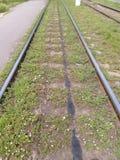 Le tram de rails retournant Photo stock