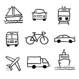 Le transport gribouille la collection illustration stock