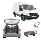 Le transport, livrent, des services de relocalisation Véhicule utilitaire et voiture de domaine commerciaux avec le tronc ouvert Images libres de droits