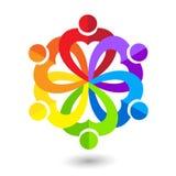 Le travail d'équipe d'amour de coeur a uni l'image de vecteur de logo d'icône de carte de visite professionnelle de visite de per Photos libres de droits