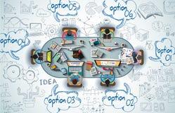 Le travail d'équipe d'Infographics avec des affaires gribouille le fond de croquis Photos libres de droits