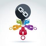 Le travail d'équipe et les affaires team avec l'icône de maillon de chaîne, r social lié Photos stock