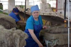 Le travail de femmes dans un feutre rejette l'usine Image stock